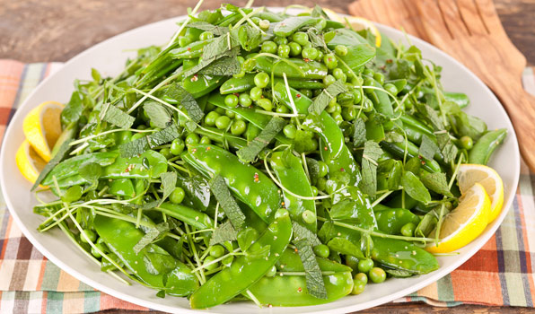 in the kitchen with stefano faita fresh four pea salad served on a plate