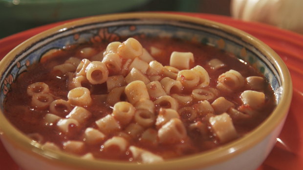 pati's mexican table alphabet soup served in a bowl