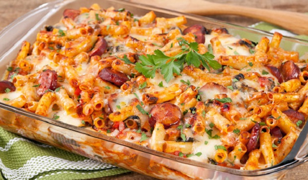 In the Kitchen with Stefano Faita Baked Ziti with chorizo and spinach served in a baking dish