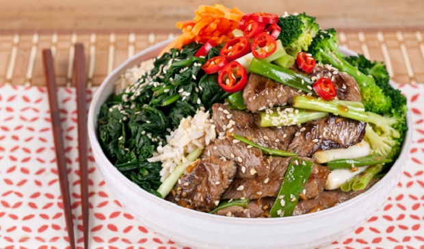 in the kitchen with stefano faita beef and broccoli brown rice bowl with chopsticks