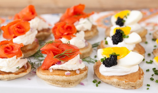 in the kitchen with stefano faita buckwheat blinis with smoked salmon and cream cheese toppings and egg, caviar and crème fraîche toppings