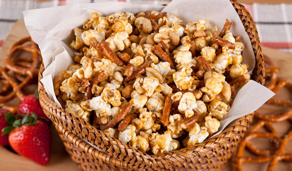in the kitchen with stefano faita spicy maple kettle corn combined with peanuts, pretzels and served in a basket