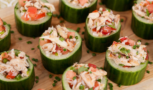 in the kitchen with stefano faita crab salad cucumber cups served on a wooden board