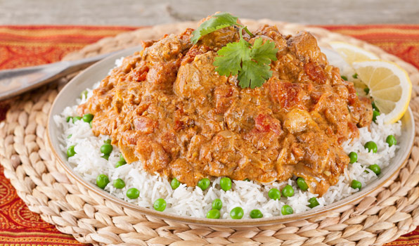 in the kitchen with stefano faita quick chicken curry served on a bed of basmati rice