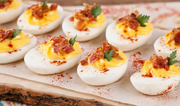 In the Kitchen with Stefano Faita Stefano's deviled eggs on a baking sheet