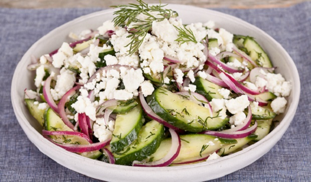 in the kitchen with stefano faita feta and cucumber salad served in a bowl