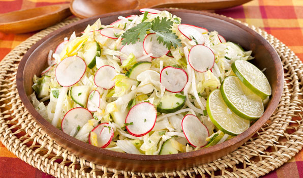 in the kitchen with stefano faita fiesta salad with zesty lime dressing served in wooden dish