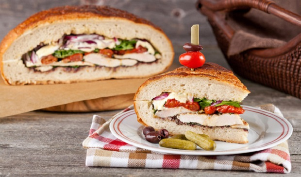 In the Kitchen with Stefano Faita Family-Sized Grilled Chicken Picnic Sandwich on a dish
