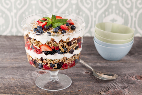 in the kitchen with stefano faita stefano's granola trifle in a class cup with spoon