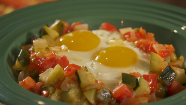 HUEVOS RANCHEROS WITH CALABACITAS