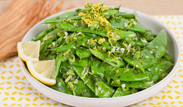 in the kitchen with stefano faita lemony green beans in a white dish