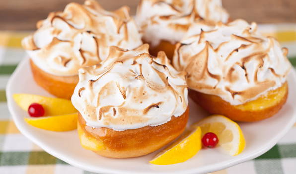 in the kitchen with stefano faita lemon meringue donuts on a plate with lemon slices