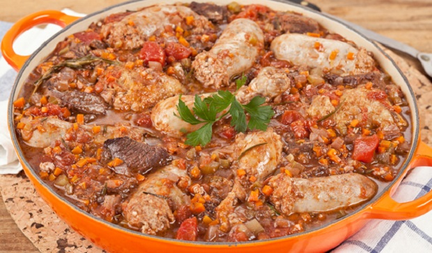 in the kitchen with stefano faita meaty tuscan stew in a large pot
