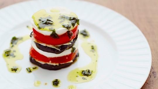 Aubergine and mozzarella with olive oil
