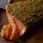 pati's mexican table mexican style gravlax with cilantro and tequila served on wooden cutting board