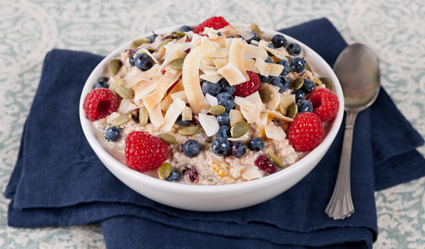 in the kitchen with stefano faita fruit and nut muesli in a bowl with toasted coconut as garnish