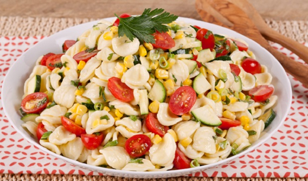 in the kitchen with stefano faita party pasta salad served in a white dish