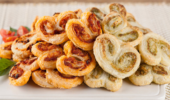 in the kitchen with stefano faita pesto palmiers both sundried pesto and basil pesto served on a dish
