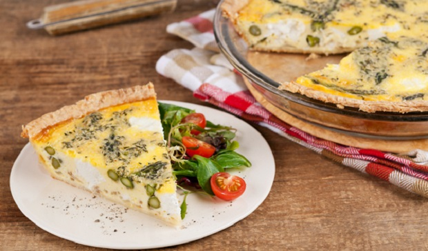 in the kitchen with stefano faita asparagus and goat cheese quiche served on a plate with a side of salad