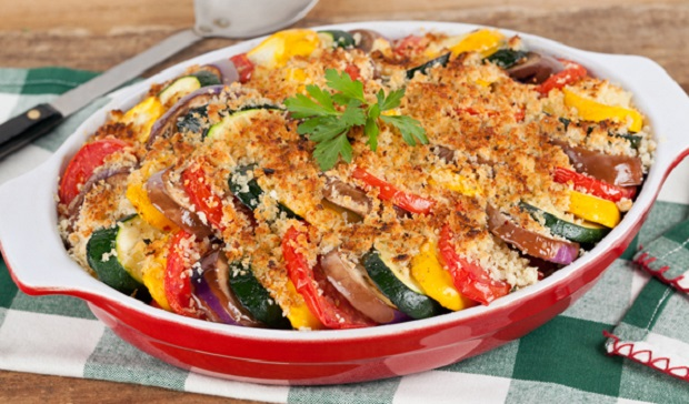 in the kitchen with stefano faita roasted ratatouille casserole served in red baking dish