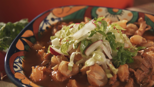 POZOLE WITH GARNISHES