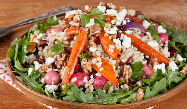 in the kitchen with stefano faita roasted veggie and barley salad on a bed of arugula topped with crumbled goat cheese
