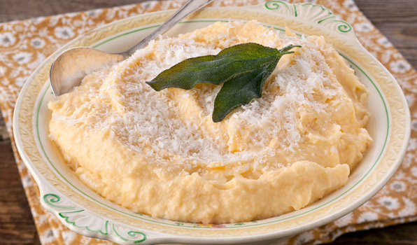 in the kitchen with stefano faita rutabaga mash with sage and grated parmesan cheese on top