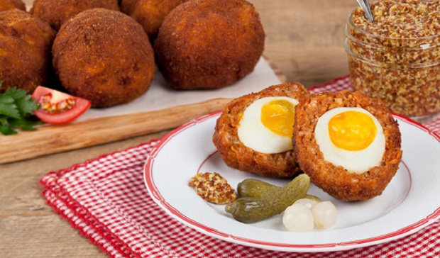 in the kitchen with stefano faita scotch eggs on a plate with grainy mustard and pickles