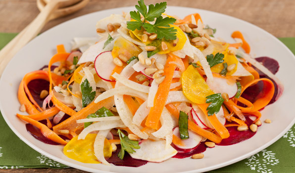 in the kitchen with stefano faita shaved veggie salad with white balsamic vinegar served on a white dish