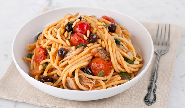 in the kitchen with stefano faita smoked mackerel pasta with cherry tomatoes in a white bowl with fork