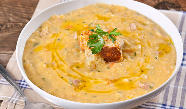 in the kitchen with stefano faita stefano's split pea soup served in a white bowl with spoon