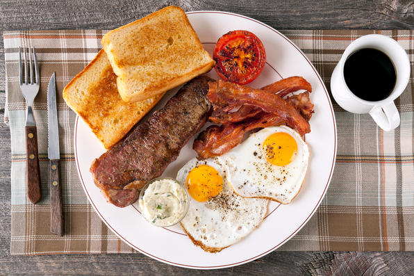 in the kitchen with stefano faita steak and eggs griddle breakfast served on a plate with black coffee on the side
