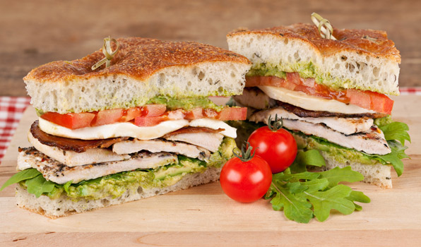 in the kitchen with stefano faita italian turkey BLT served on a wooden board