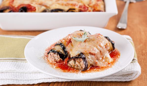 in the kitchen with stefano faita turkey and eggplant involtini served on a dish