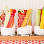 in the kitchen with stefano faita veggie cups and ranch dip served in glass cups