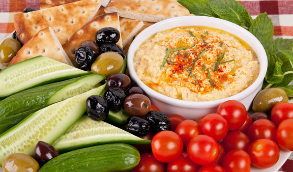 in the kitchen with stefano faita whipped feta and pepper dip served with pita bread, tomatoes, cucumbers and olives
