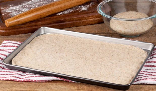 in the kitchen with stefano faita whole wheat pizza dough uncooked on baking pan