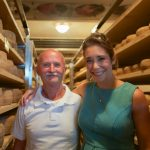 Picture Shows: Paolo and Michela standing in aisle surrounded by pecorino cheese