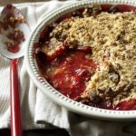 Ruby red plum and Amaretti crumble