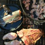fish, meat on fire